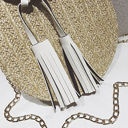 Handbags Girl Round Bag For Hand Straps Shoulder Summer Chain Beach Black Crossbody woven Lady With Women Unyu Bag Straw Female f1qfwt