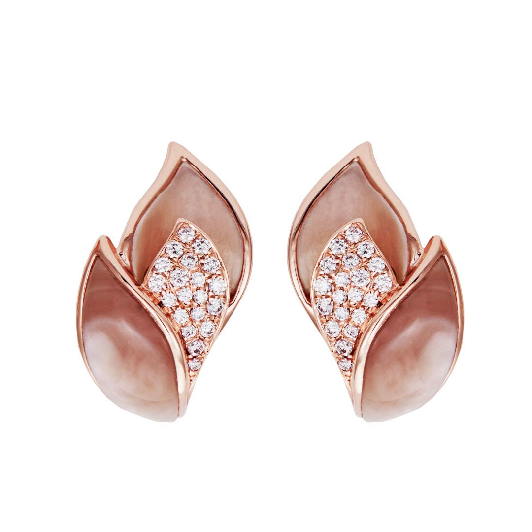 Facets Jewels 10k Rose Gold Earring with Diamond /& Sea Shell I1-I2, I-J