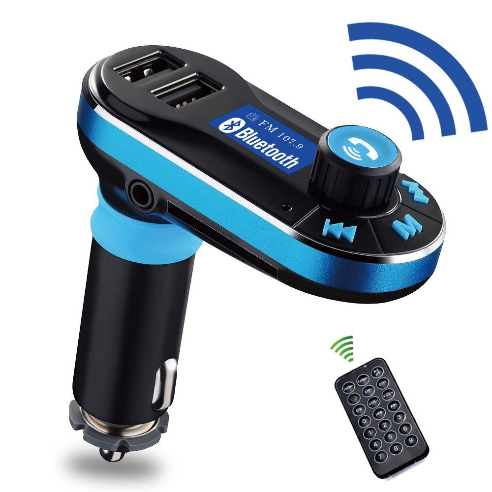 Car Bluetooth Handsfree Kit FM Transmitter Radio Player 2-Port USB Charger Blue