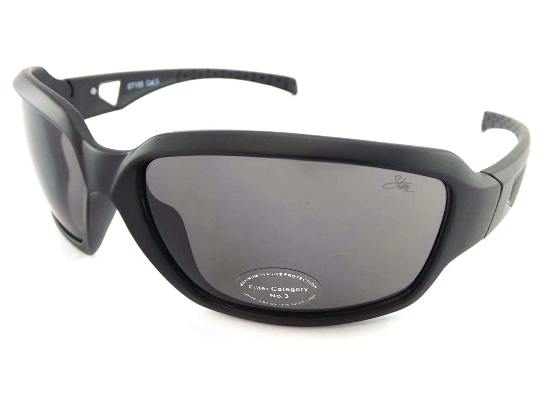 Stein Wrap Sonnenbrille Matt Schwarz mit Gunmetal und dunkelgrau Cat. 3Objektiv ST155 UpwLWEtaWL