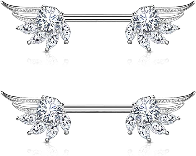 Pair of Dynamique Angel Wings with Paved CZ 316L Surgical Steel Nipple Bars