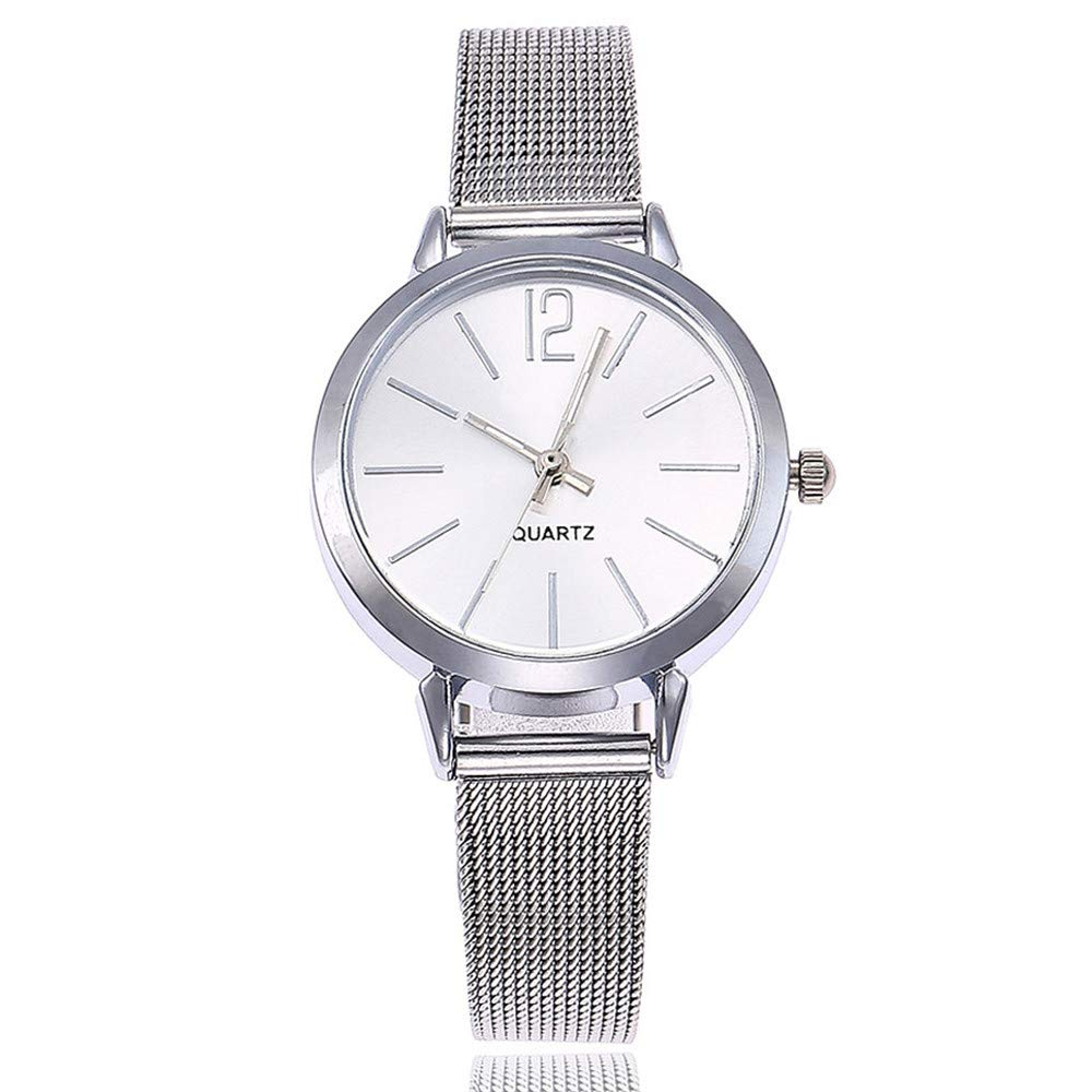 Fashion Watches for Women Under 10 on Sale DYTA Easy Reader Watches with Stainless Steel Band Simple Watches White Face Analog Quartz Wrist Watch on Clearance Relojes De Mujer En Oferta