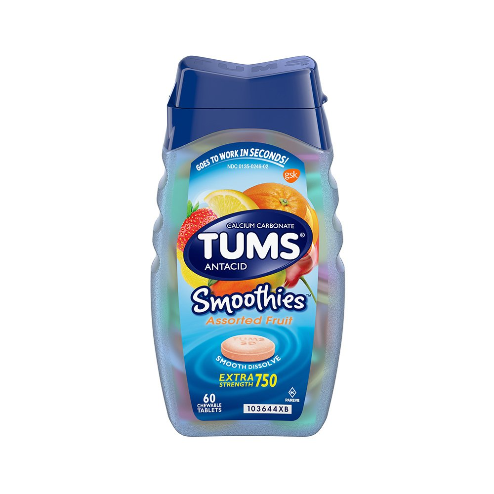 Tums Smoothies Assorted Fruit, Extra Strength 750, 60 Count (Pack of 36)
