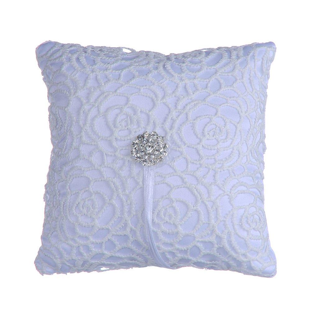 XSM Wedding Ring Pillow Cushion Bearer Satin Rhinestone Flower 15 x 15cm Ivory