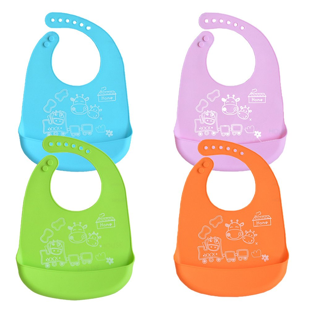 INCHANT Waterproof Silicone Baby Bibs - Roll Up Infant Bib with Food Crumb Catcher Pocket, Easy Wipes Clean & Quick Drying - Soft & Comfortable for Your Toddler, Set of 4 Colors Ecreate B017-4C-c