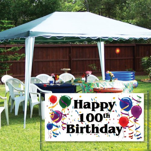 VictoryStore Yard Sign Outdoor Lawn Decorations: Happy 100th Birthday 2'X4' Vinyl Bann