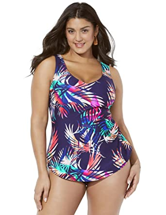 7c3ebc125e0 Amazon.com  Swimsuits for All Women s Plus Size Navy Tropical Palm Sarong  Front One Piece Swimsuit  Clothing