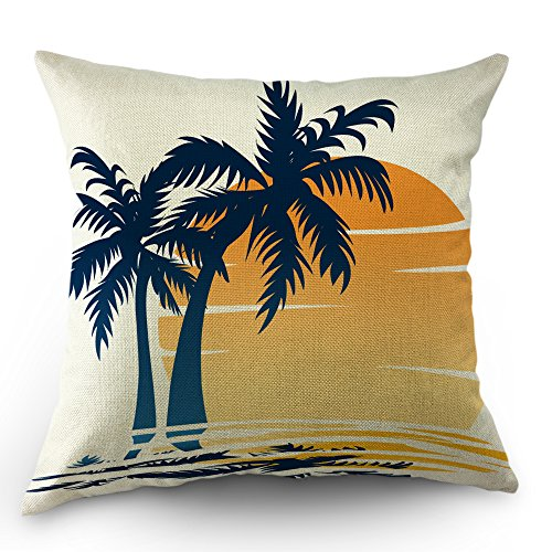 (Moslion Coastal Throw Pillow Cover Palm Tree Waves in The Beach at Sunset Cotton Linen Decorative Pillow Case 18 x 18 Inch Standard Square Cushion Cover for Sofa Bedroom Men Women Blue Orange)