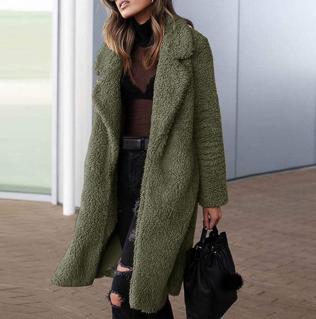 Women Faux Fur Long Coat TUDUZ Ladies Winter Warm Fuzzy Fleece Open Front Cardigan Outwear Jacket