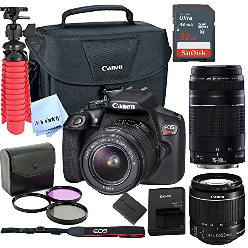 Canon T6 Digital SLR Camera Kit with EF-S 18-55mm and EF 75-300mm Zoom Lenses (Black) with Free SanDisk Ultra 32GB SDHC Card