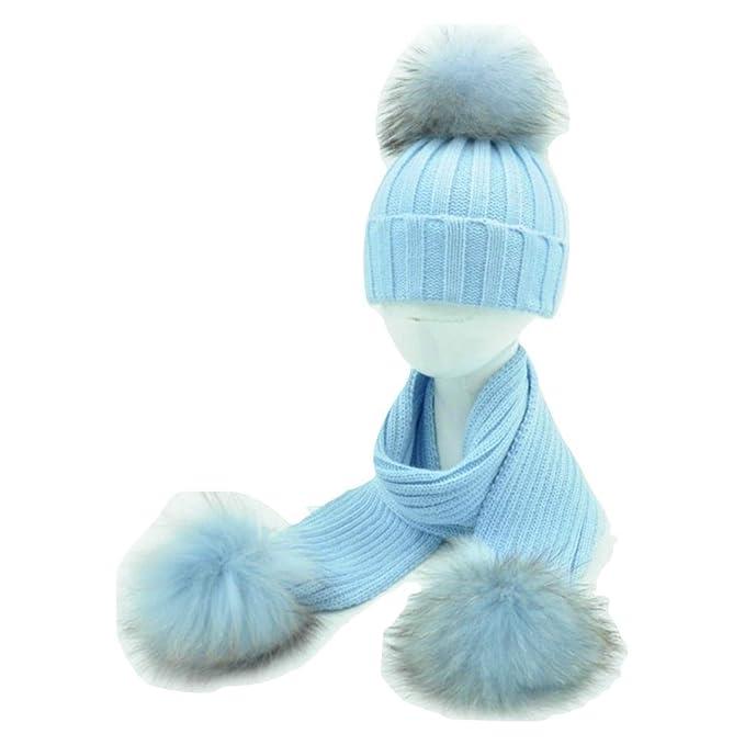 BrillaBenny Cappello E Sciarpa Bambino con PON PON Pelliccia MURMASKY  Celeste Azzurro 1-5 Anni Bimbo Cappellino Cuffia Hat Scarf Light Blue Sky  Baby Boy Set ... 4b1c4926f410