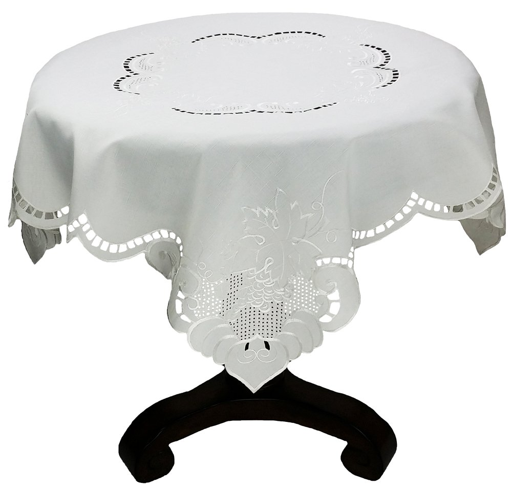 Xia Home Fashions Grapes and Leaves Embroidered Collection Cutwork Table Topper, 48 by 48-Inch