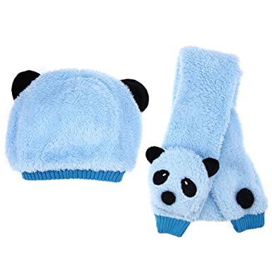 8bc0c01621b Image Unavailable. Image not available for. Colour  Broadroot New Baby  Scarf Hat Set Kids Warm Panda Cap Scarf Winter Hat Scarf(Blue