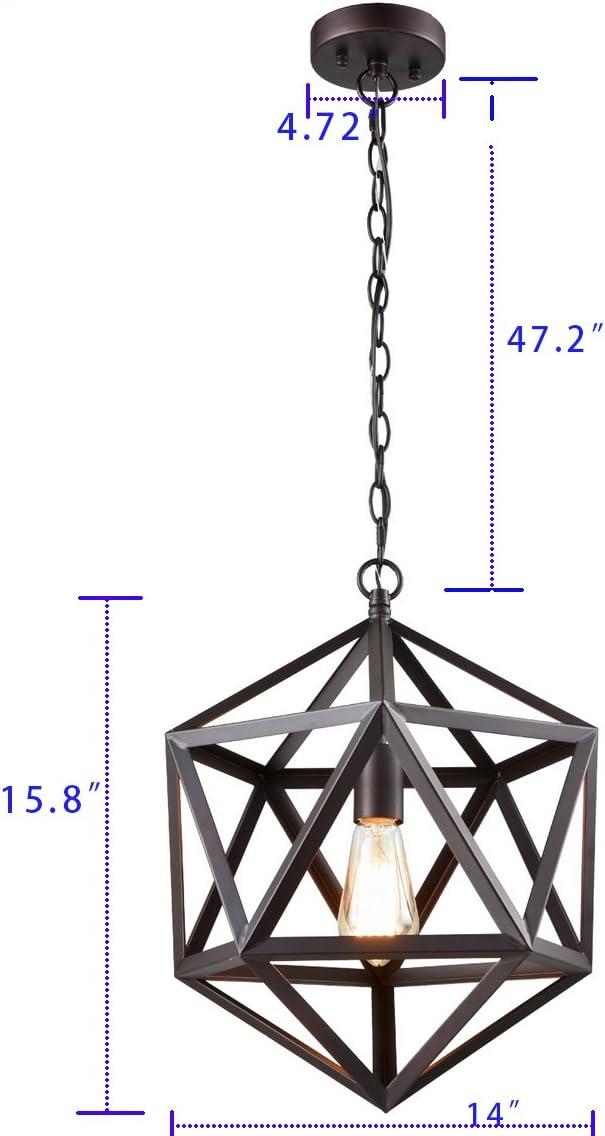 CLAXY Ecopower Industrial Geometric Pendant Lighting Metal Cage Loft Hanging Light Fixture