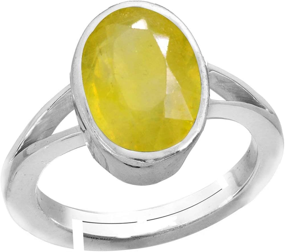 Pukhraj Gemstone Sterling Silver Adjustable Ring Men and Women Royalmart 13.50 Ratti Natural Yellow Sapphire