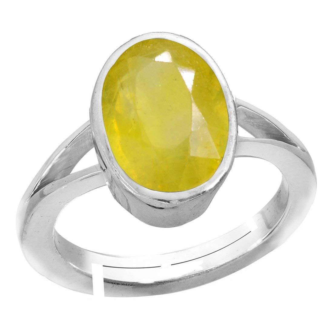 Pukhraj Royalmart 20.50 Ratti Natural Yellow Sapphire Gemstone Sterling Silver Adjustable Ring Men and Women
