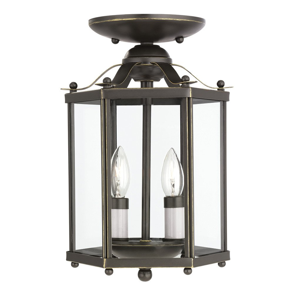 Sea Gull Lighting 5232-782 Bretton Two-Light Semi-Flush Convertible Pendant with Clear Glass Panels, Heirloom Bronze Finish