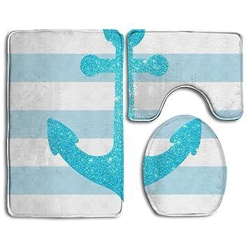 Yushihua Badteppich 3 Stuck Flanell Badezimmer Teppich Set Blau