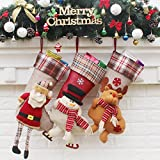MangGou Christmas Stockings Personalized Ornament Tree Decorations Stockings Hanging, 3 Pcs Set Santa Claus Snowman Elk Socks Christmas Gift for Kids
