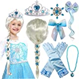 Princess Elsa Wig Frozen Elsa Braid with Princess Tiara Necklace Gloves Princess Elsa Dress Up Costume Cosplay Accessories fo