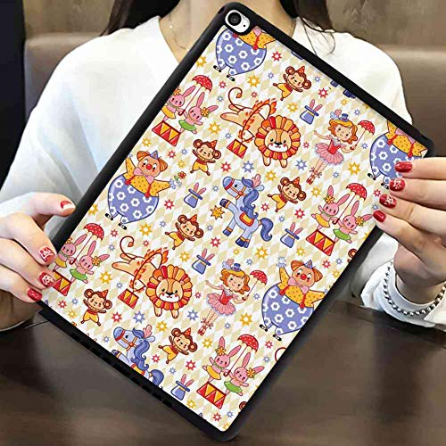 TPU+PC Case Compatible iPad Mini 4 7.9inch Zoo Carnival Circus Theme with Cheerful Mascots Monkey Lion Bunny Acrobat Girl and Clown Multicolor ()