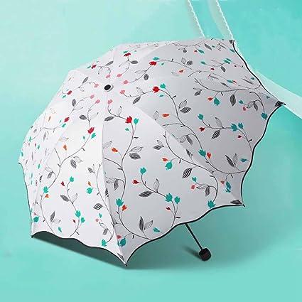 BiuTeFang Paraguas sombrilla paraguas chica protector solar sombrilla protección UV vinilo paraguas plegable refuerzo 66x100cm