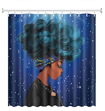 Changyun African Women Shower Curtain Bathroom Decorative Waterproof Anti Mildew Polyester Fabric Blue Bath