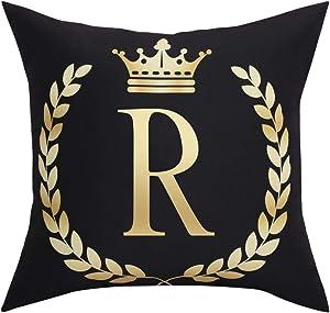 Black Pillow Cover Throw Pillow Case English Alphabet R Throw Pillow Case Modern Cushion Cover Square Pillowcase Decoration for Sofa Bed Chair Car 18 x 18 Inch