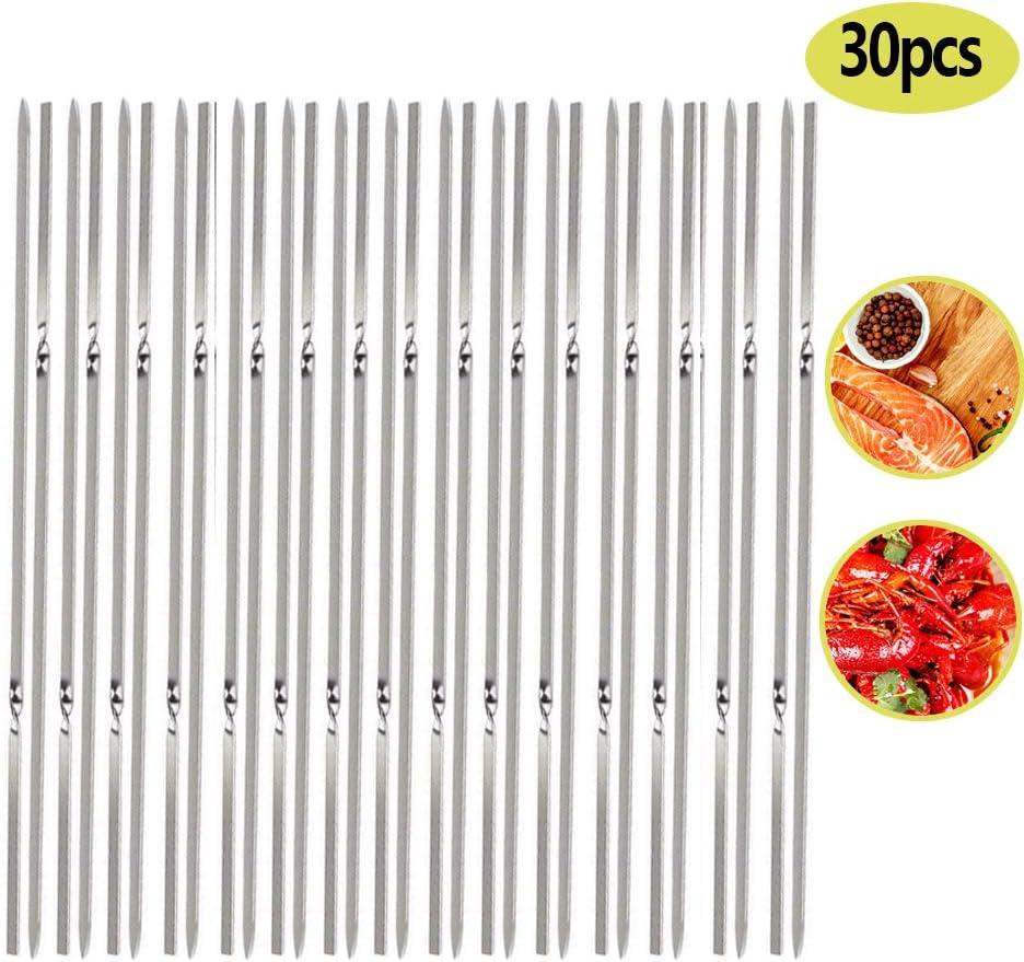 Pics /à Brochette pour Barbecue Chiche-Kebab 40 cm S/ûr Durable et R/éutilisable pour brochettes r/éutilisables en m/étal DXIA 30 Pack Brochettes de Barbecue en Acier Inoxydable