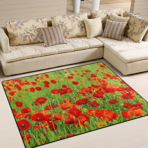 - XiangHeFu Soft Doormats 7'x5' (80x58 Inches) Area Rugs Red Poppy Beautiful Green Non-Slip Floor Mat Resting for Living Room Bedroom