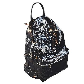 OULII Mochila para Mujer Mochila Casual de Moda con Lentejuelas para Viaje (Negro): Amazon.es: Equipaje