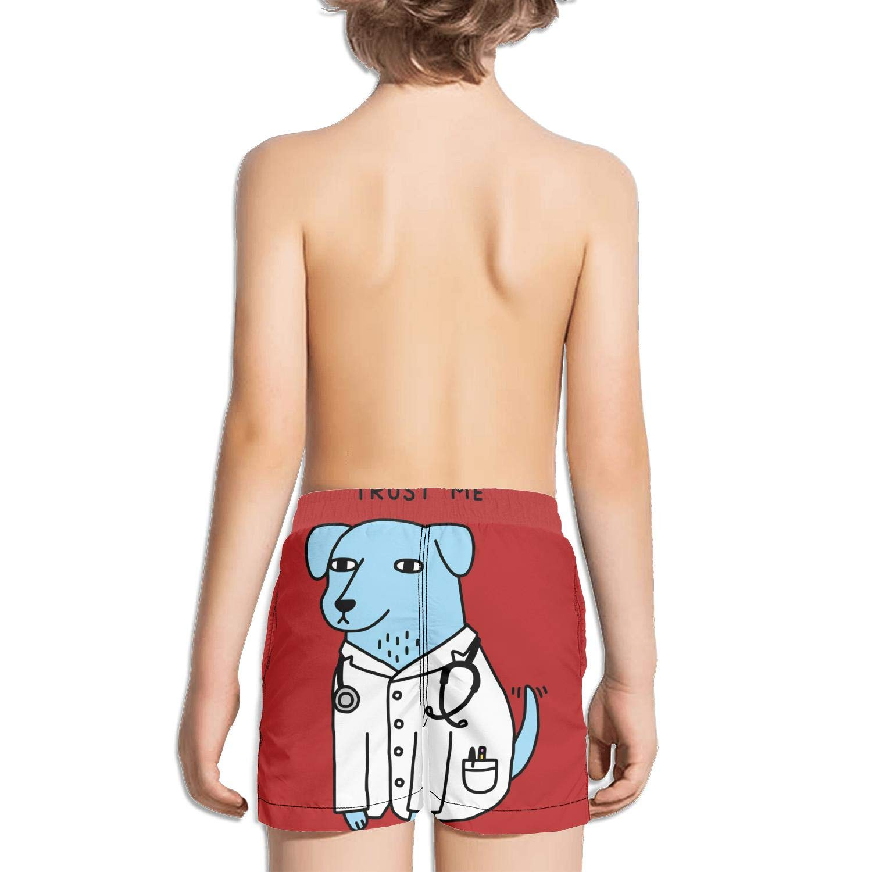 JIONONDS Trust me Im a Dogtor Funny Dog Kids Quick Dry Adjustable Drawstring Swimming Trunks Shorts
