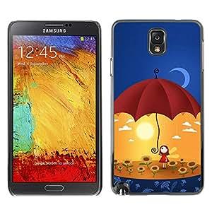 Qstar Arte & diseño plástico duro Fundas Cover Cubre Hard Case Cover para SAMSUNG Galaxy Note 3 III / N9000 / N9005 ( Umbrella Sun Flowers Yellow Moon Art)