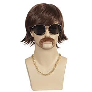 QACCF Mens 70's Wig | Mens 70s Gold Chain and Mustache and 60s Party Wig (Straight Sonny Bono Brown)