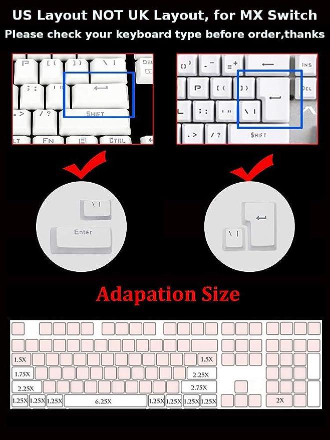Feicuan 104 Keyset Keycap ABS Teclas Colorful Retroiluminado Replacement Key Cap Cover para Teclado mecánico -Purple