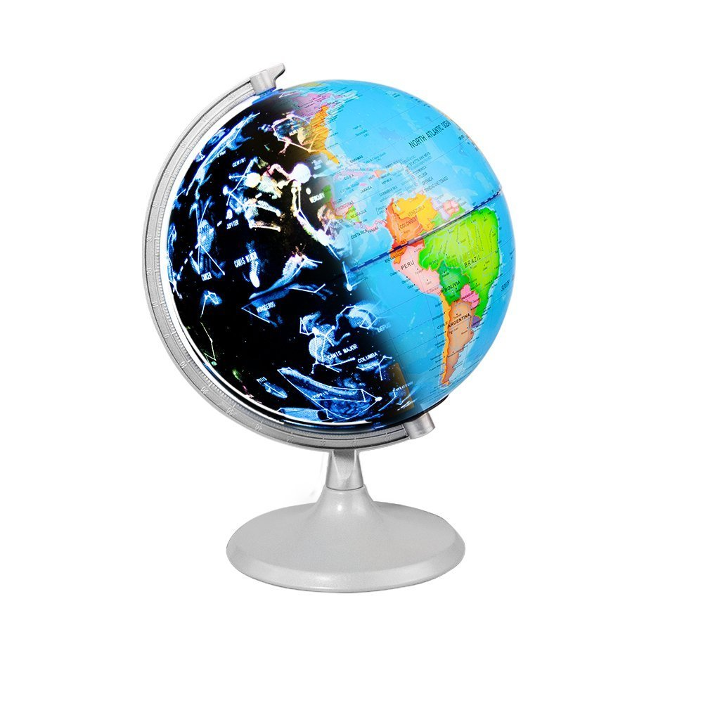 Illuminated World Globe,BestOff Constellation Globe with Detailed World Map for Kids Educational Interactive Astronomy & Geographic Map Globe