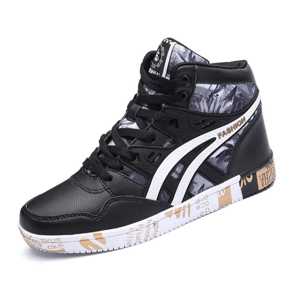 Männer Turnschuhe Freizeitschuhe Hip Hop High Top Print Herren Flache Herbst Winter PU Leder Schuhe (Farbe   schwarz Gold, Größe   8 UK)