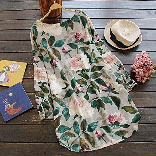 Manches en imprim Robe Beige pour GreatestPAK Longues Femme Robe Fte d't de Floral Longue Coton Plage XPwqO4