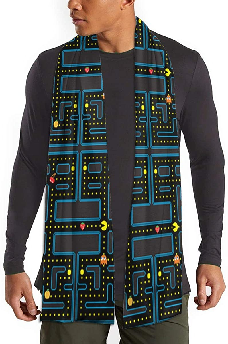 Long Scarf Pacman Retro Video Game Pattern Long Scarf Winter Warmer Scarves Shawl Wrap