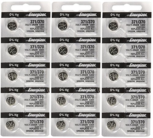 Energizer 371 or 370 Button Cell Silver Oxide SR920SW 15 Watch Batteries