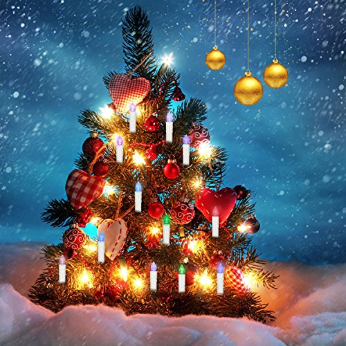 Flameless Led Candles Multi-Color Flickering Lights Remote Control Taper Candles with Removeable Clips for Christmas Tree,Chandelier,Party Decoration (20 PCS) - Orange Flame Grass