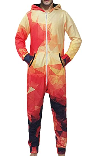8b64251b6a04 Zantt Mens Geometric Warm Onesie Zip-Front Winter Onesie Pajamas Jumpsuit  at Amazon Men s Clothing store