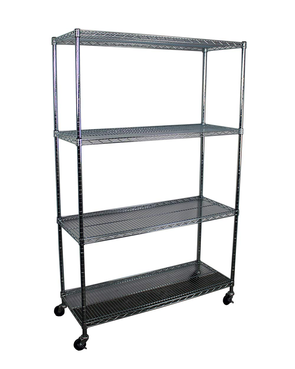 SafeRacks NSF 4-Tier Wire Shelving Rack with Wheels - 18'' x 48'' x 72''