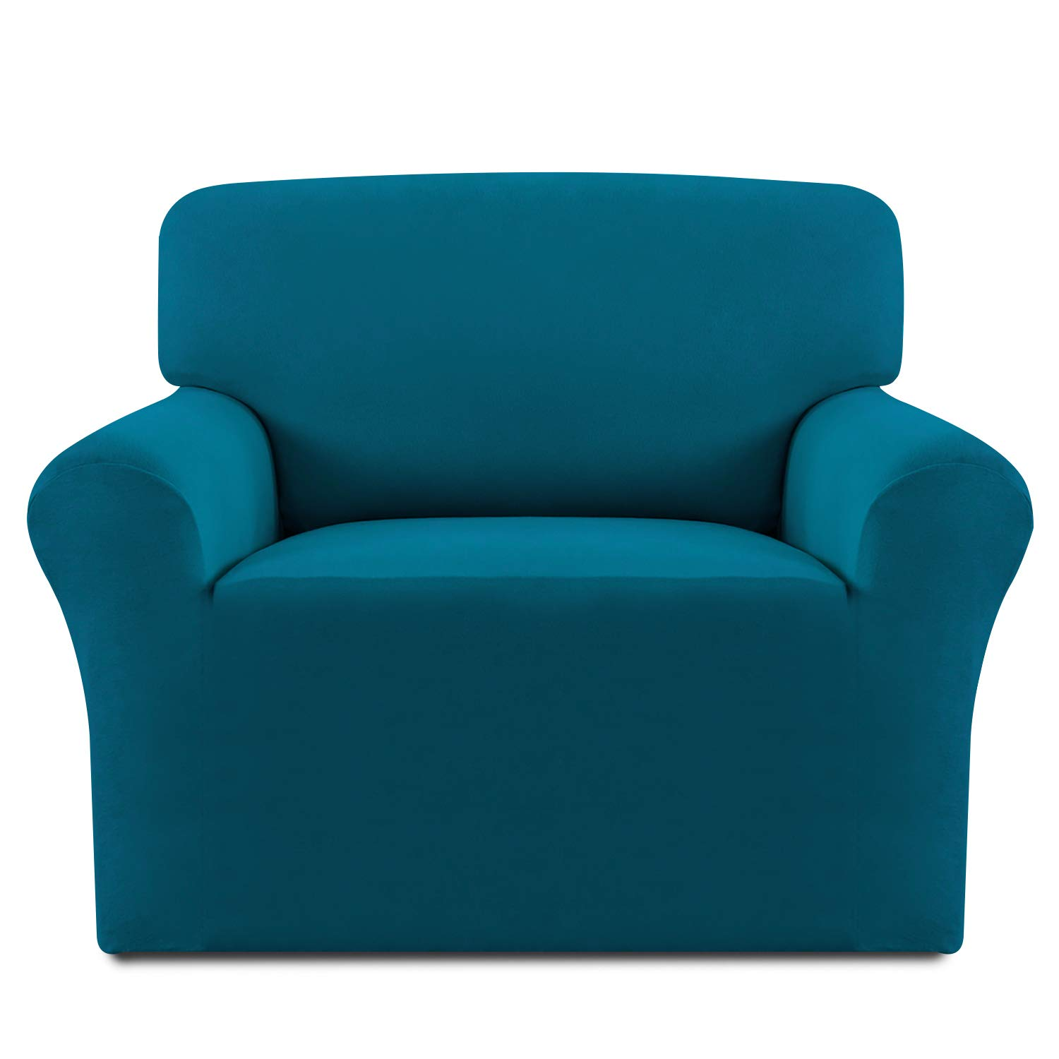 Easy-Going Fleece Stretch Sofa Slipcover – Spandex Anti-Slip Soft Couch Sofa Cover, Washable Furniture Protector with Anti-Skid Foam and Elastic Bottom for Kids, Pets(Chair,Peacock Blue)