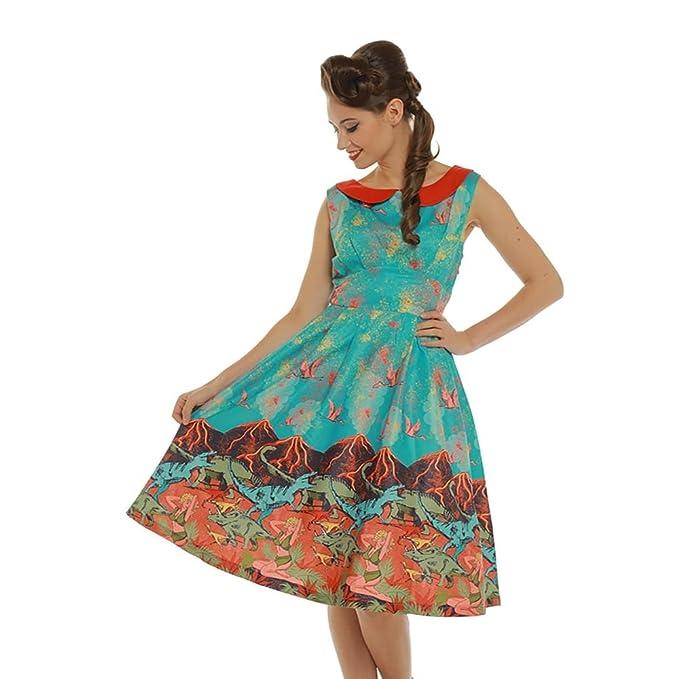 a2b2575e74609 Lindy Bop 'Sorrell' Volcano and Dinosaur Print Swing Dress: Amazon.ca:  Clothing & Accessories