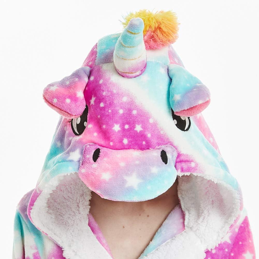 Woneart Donna Accappatoio con Cappuccio Costumi Unicorno Pigiama Vestaglia Animale Indumenti da Notte Bagno Halloween Carnevale Festa Tutina Pigiameria