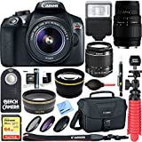 Canon EOS Rebel T6 Digital SLR Camera Wifi + 18-55mm IS II & Sigma 70-300mm Macro Telephoto Zoom Lens Kit + Accessory Bundle 64GB SDXC Memory + Bag + Wide Angle Lens + 2x Telephoto Lens+Flash+Tripod