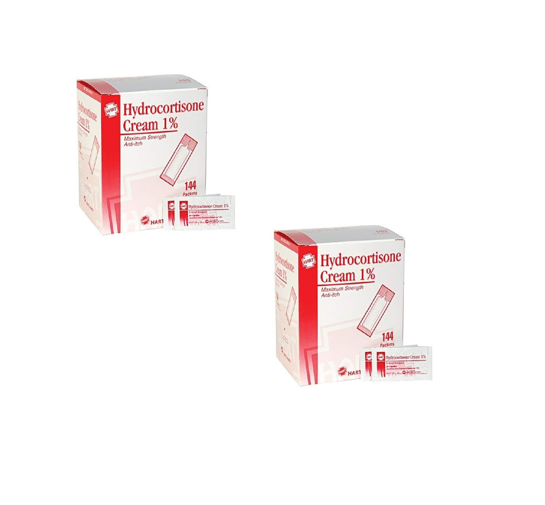 HART Health Hydrocortisone Cream 1%, Maximum Strength Anti-Itch, 144 Packets, 1/32 oz (0.9m) Each (2 Pack)