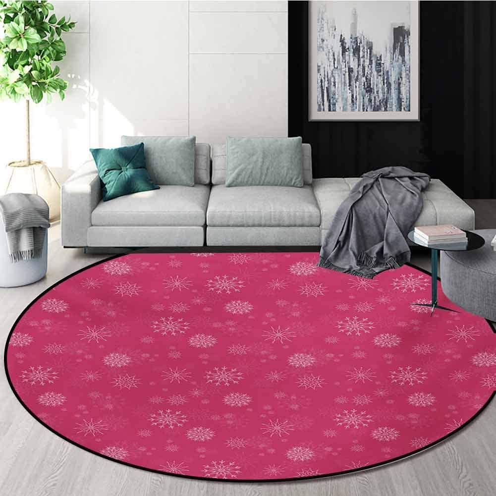 Rugsmat Winter Anti Skid Area Rug Gentle White Snowflakes On Pink Background Soft Feminine Romantic Seasonal Pattern Green Soft Area Rugs Round 47 Inch Pink White Amazon Ca Home Kitchen