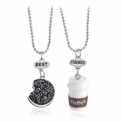 c51a153595 Amazon.com: QIHOO 2Pcs Best Friends Forever Necklace Set Milk Coffee  Ice-cream Necklace Pendant Gift For Boys Girls Kids BFF Necklace (milk  coffee): Jewelry